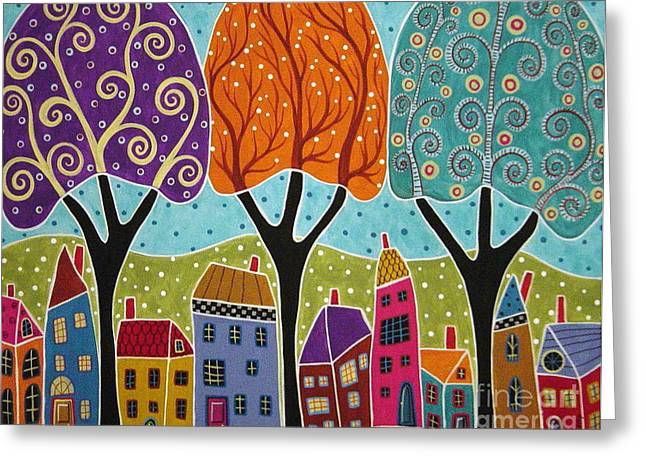 Houses Trees Folk Art Abstract  Greeting Card by Karla Gerard