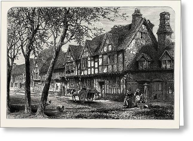 Houses, Under, The Castle, Warwick, Uk, Great Britain Greeting Card