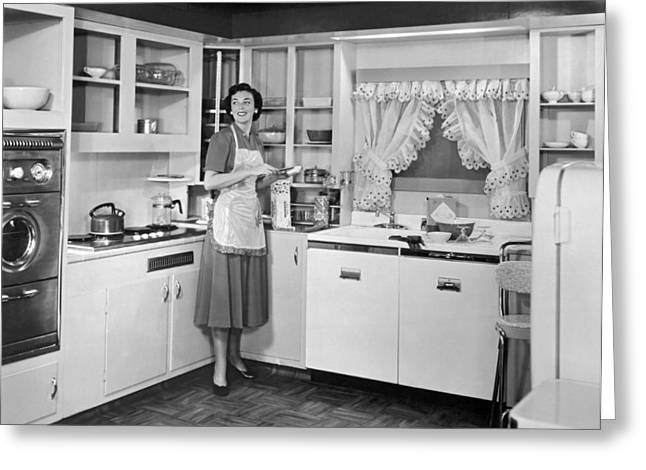 Housewife Making Sandwiches Greeting Card by Underwood Archives