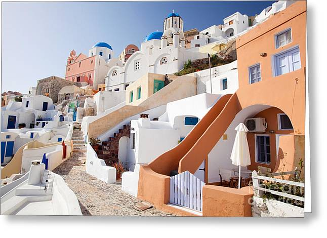 Housing Of Santorini Greeting Card by Aiolos Greek Collections