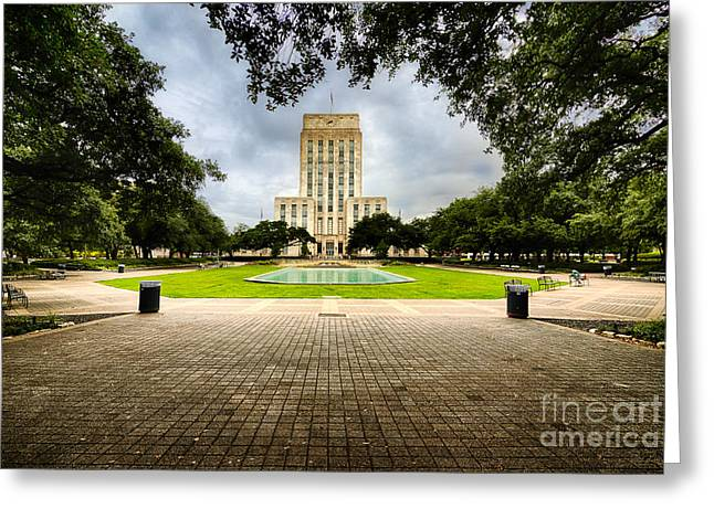Houston City Hall On A Weekend Morning Greeting Card by Dee Zunker