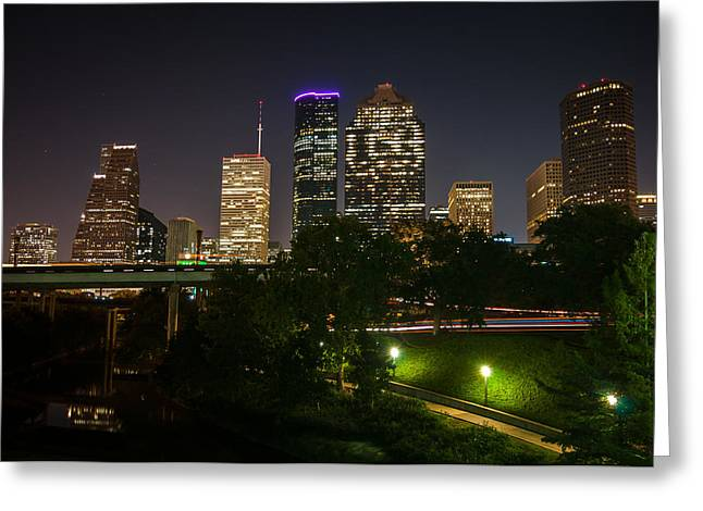 Houston Never Sleeps Greeting Card by Andy Crawford