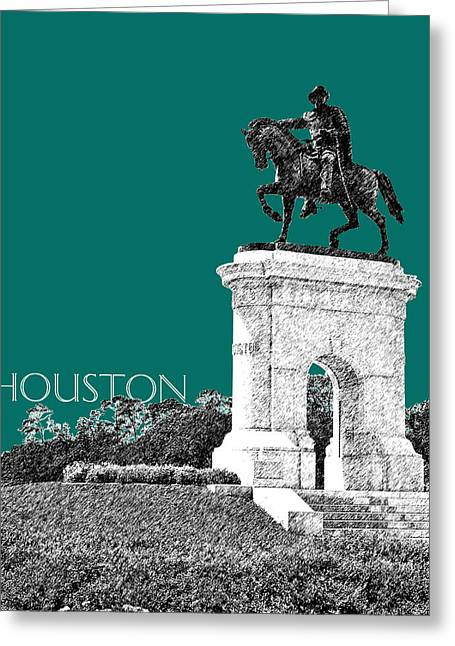 Houston Sam Houston Monument - Sea Green Greeting Card by DB Artist
