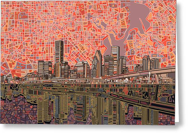 Houston Skyline Abstract 5 Greeting Card
