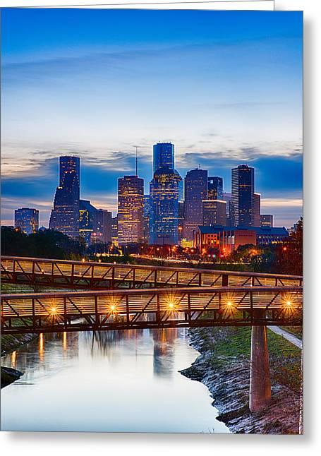 Houston Skyline At Memorial And Montrose Greeting Card by Kayta Kobayashi