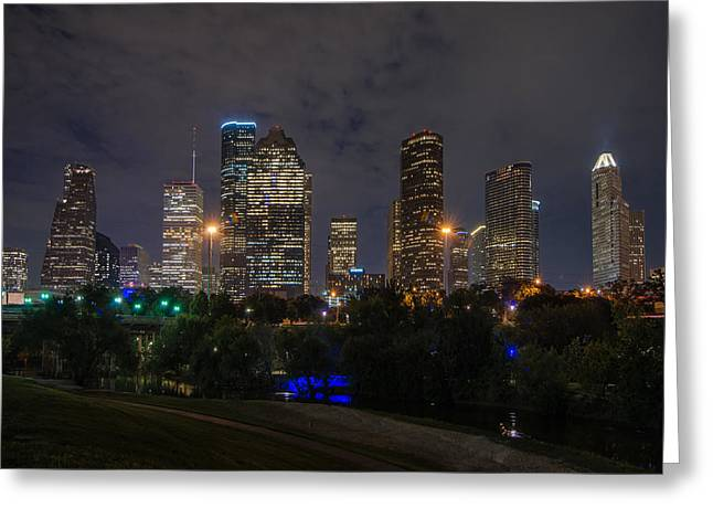 Houston Skyline At Night Greeting Card