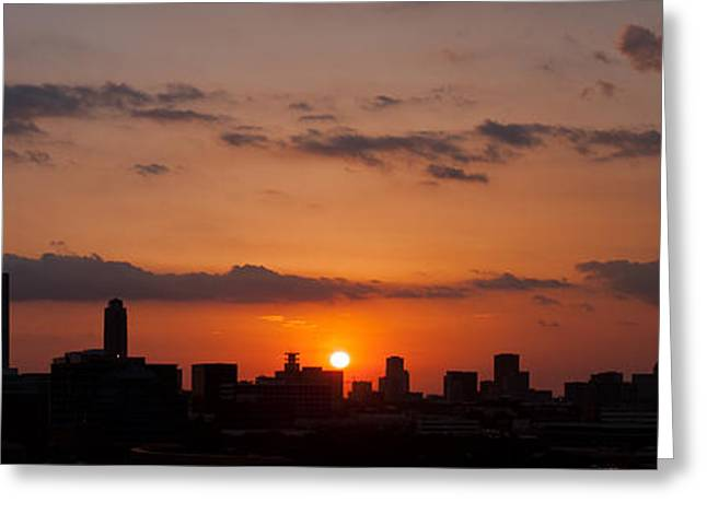 Houston Skyline At Sunset Greeting Card