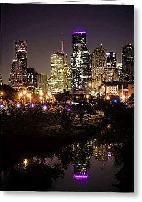 Houston Skyline From Buffalo Bayou Greeting Card