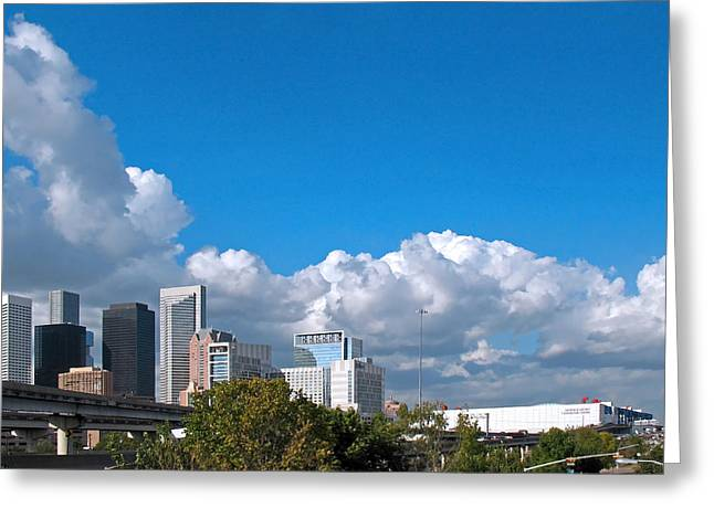 Houston Skyline Southeast Greeting Card by Connie Fox