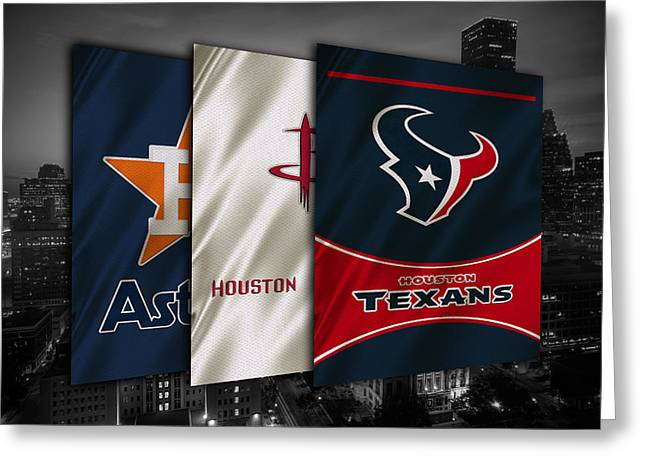 Houston Sports Teams Greeting Card by Joe Hamilton