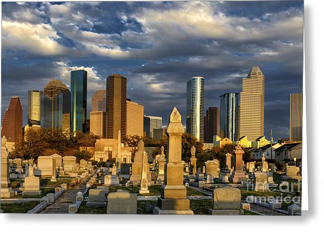 Houston Sunset Skyline Greeting Card