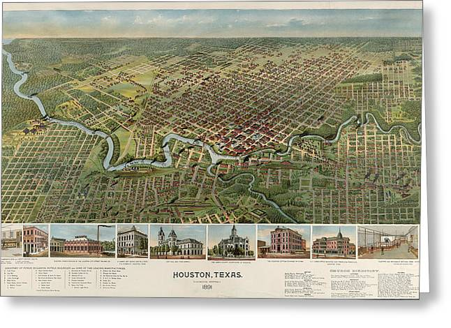 Houston, Texas Looking South 1891 D.w. Ensign & Co Greeting Card by Litz Collection