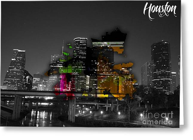 Houston Texas Map And Skyline Watercolor Greeting Card by Marvin Blaine