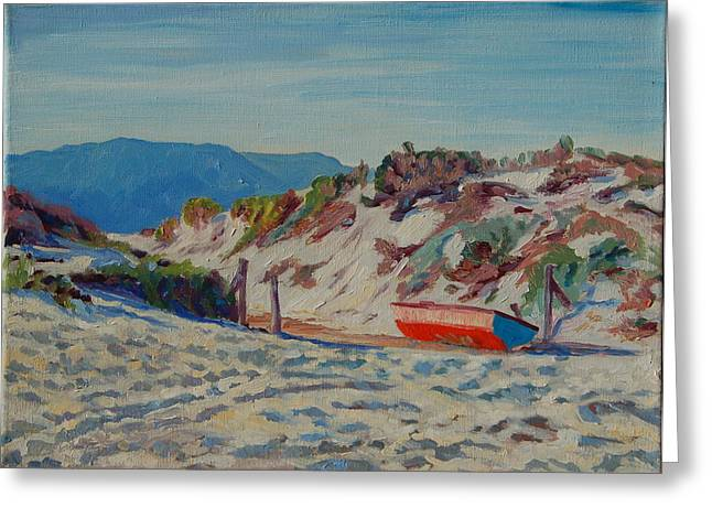 Greeting Card featuring the painting Hout Bay Beach With Table Mountain by Thomas Bertram POOLE