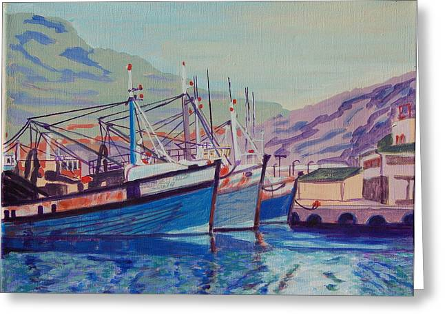 Greeting Card featuring the painting Hout Bay Fishing Boats by Thomas Bertram POOLE