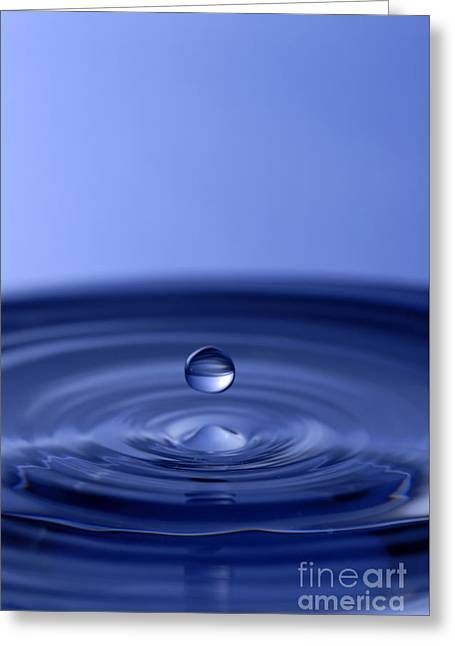 Hovering Blue Water Drop Greeting Card