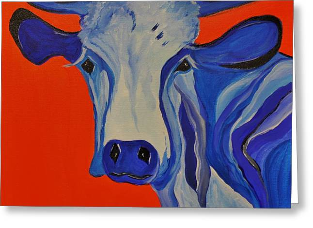 How Now Blue Cow Greeting Card by Janice Rae Pariza