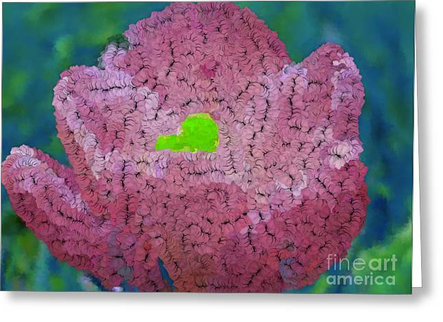 How Things Were Teal Pink Neon Green Greeting Card by Holley Jacobs