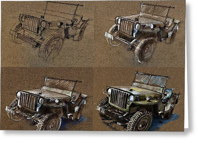 How To Draw A 1943 Willys Jeep Mb Car Greeting Card by Daliana Pacuraru