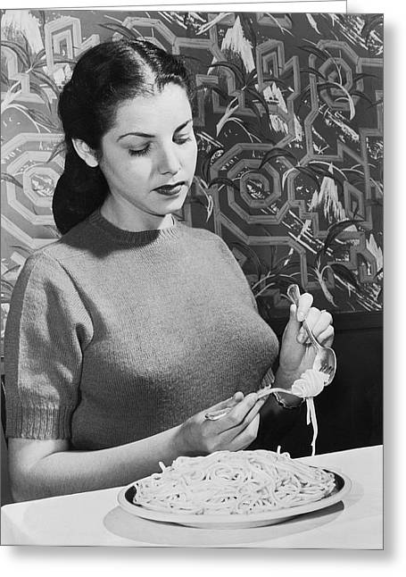 How To Eat Pasta Greeting Card by Underwood Archives