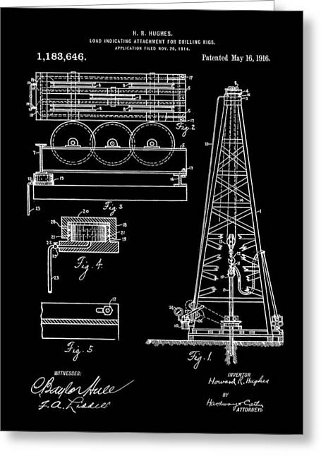 Howard Hughes Drilling Rig Patent 1914 - Black Greeting Card