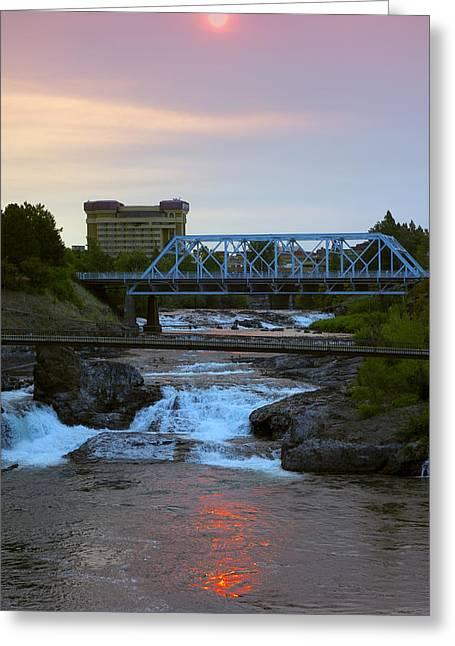 Howard Street Bridge Dawn Greeting Card