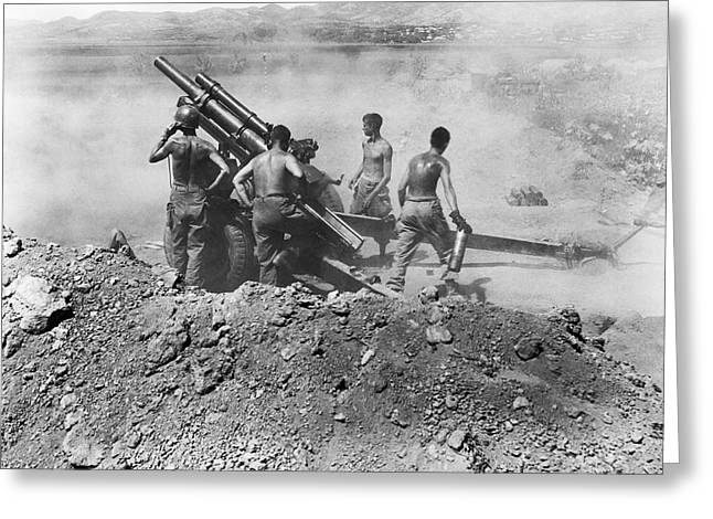 Howitzer Shelling In Korea Greeting Card by Underwood Archives