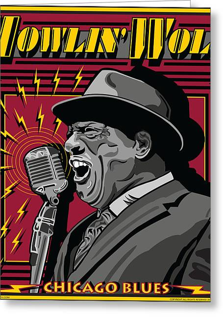 Howlin' Wolf Chicago Blues Legend Greeting Card by Larry Butterworth