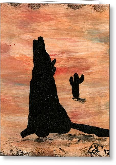 Howling At The Moon Greeting Card by Gail Schmiedlin