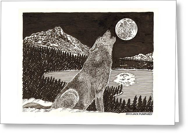 Howling Coyote Full Moon Ho0wling Greeting Card by Jack Pumphrey