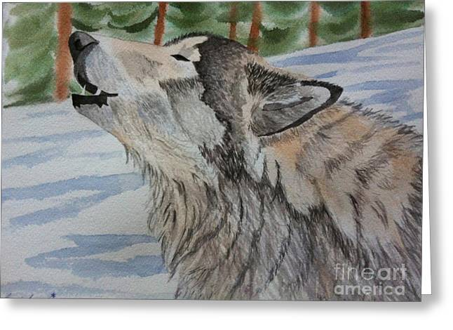 Howling Wolf In Winter Greeting Card