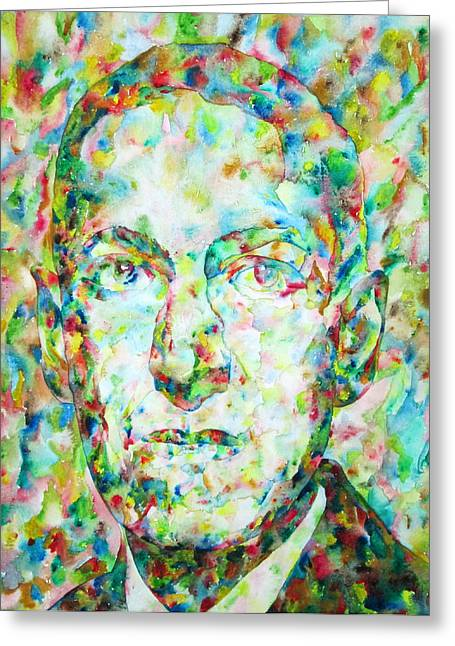 H.p. Lovecraft Watercolor Portrait Greeting Card