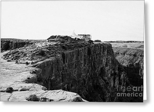hualapai indian buffet cafe building built on the cliff face at guano point Grand Canyon west arizon Greeting Card by Joe Fox