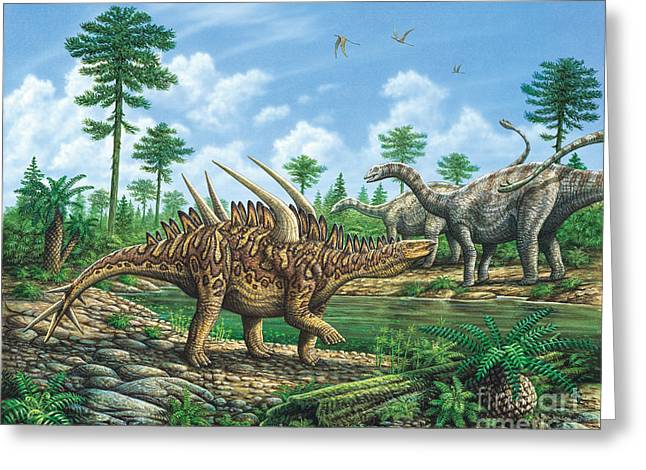 Huayangosaurus And Shunosaurus Greeting Card by Phil Wilson