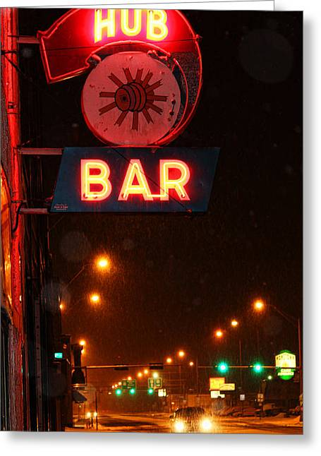 Hub Bar Snowy Night Greeting Card by Sylvia Thornton