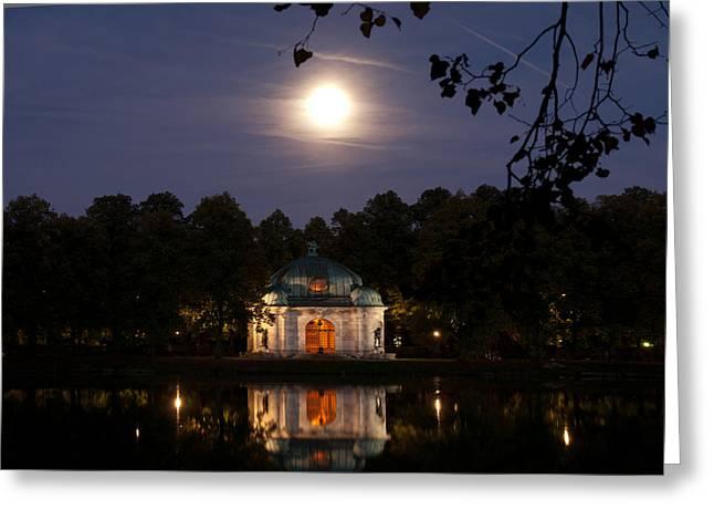 Hubertusbrunnen At Night  Greeting Card by Hildie Hofmann
