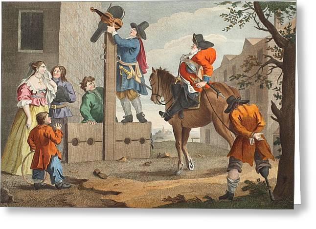 Hudibras Leading Crowdero In Triumph Greeting Card by William Hogarth