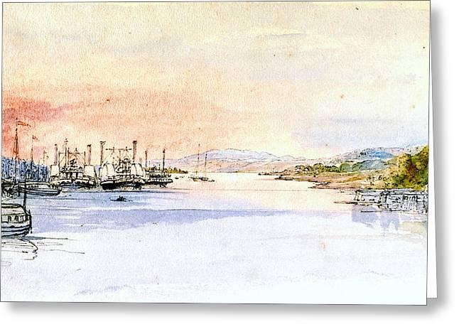 Hudson River Albany New York 1846 Greeting Card
