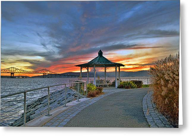 Hudson River Fiery Sky Greeting Card