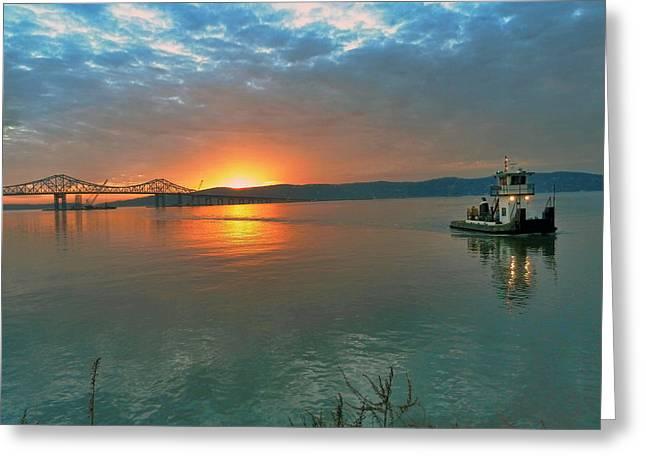 Hudson River Sunset Greeting Card by Jeffrey Friedkin