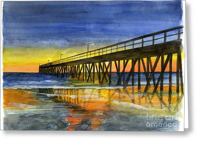 Hueneme Pier At Sunset Greeting Card