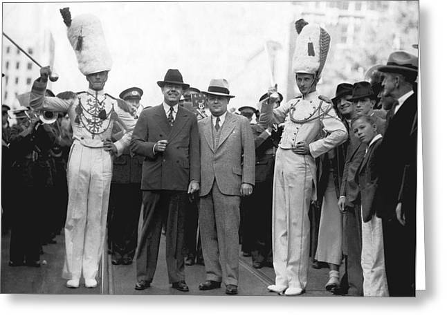 Huey Long And Governor Conner Greeting Card by Underwood Archives