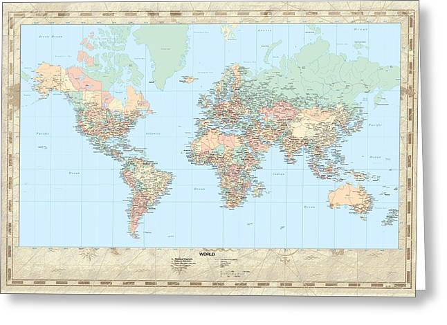 Huge Hi Res Mercator Projection Political World Map   Greeting Card by Serge Averbukh