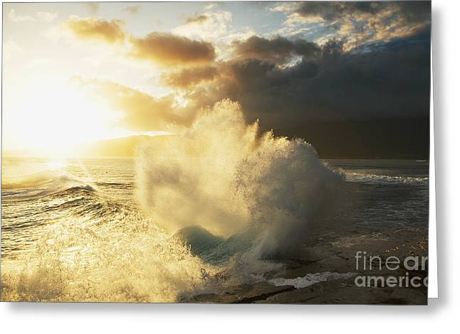 Huge Wave Crashing Against Coastal Rocks On The Portlock Coastline_ Oahu, Hawaii, United States Of America Greeting Card