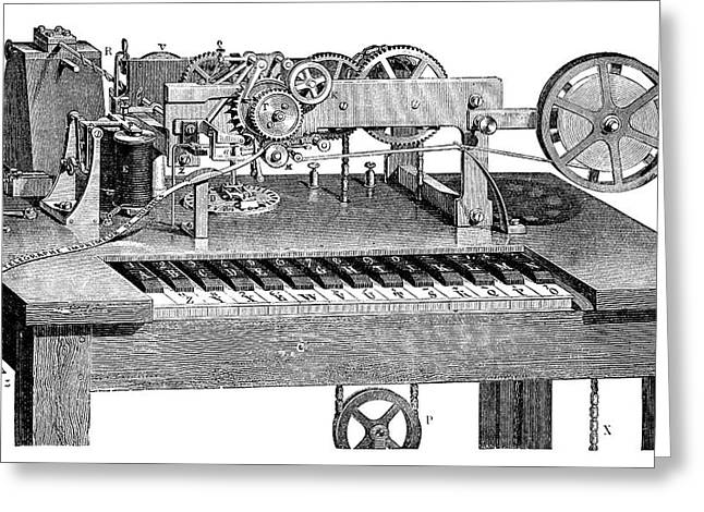 Hughes Printing Telegraph Greeting Card by Science Photo Library