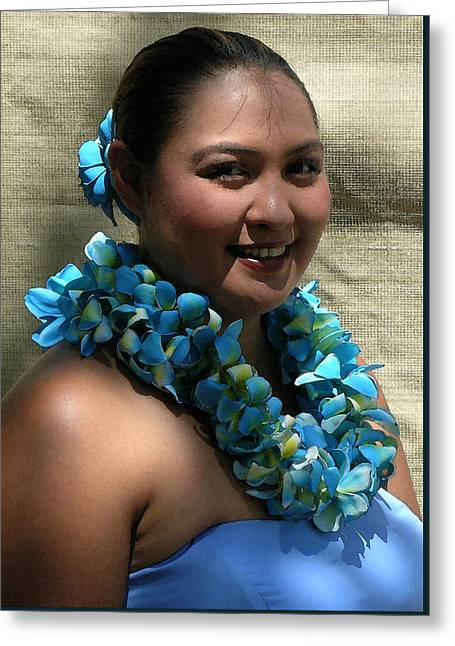 Hula Blue Greeting Card by James Temple