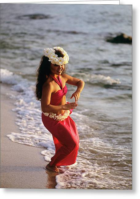 Hula Dancer Hawaii At Waters Edge Surf Greeting Card