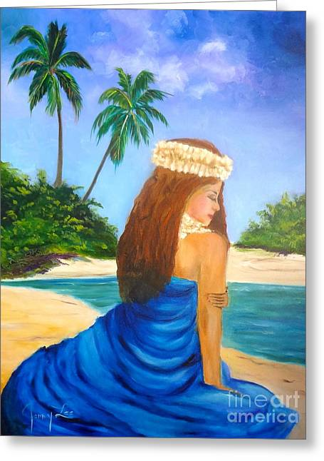 Greeting Card featuring the painting Hula Girl On The Beach by Jenny Lee