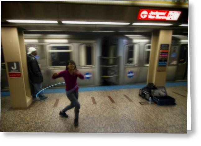 Hula Hoopist Performs By Train Greeting Card