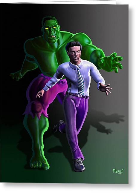 Greeting Card featuring the painting Hulk - Bruce Alter Ego by Anthony Mwangi